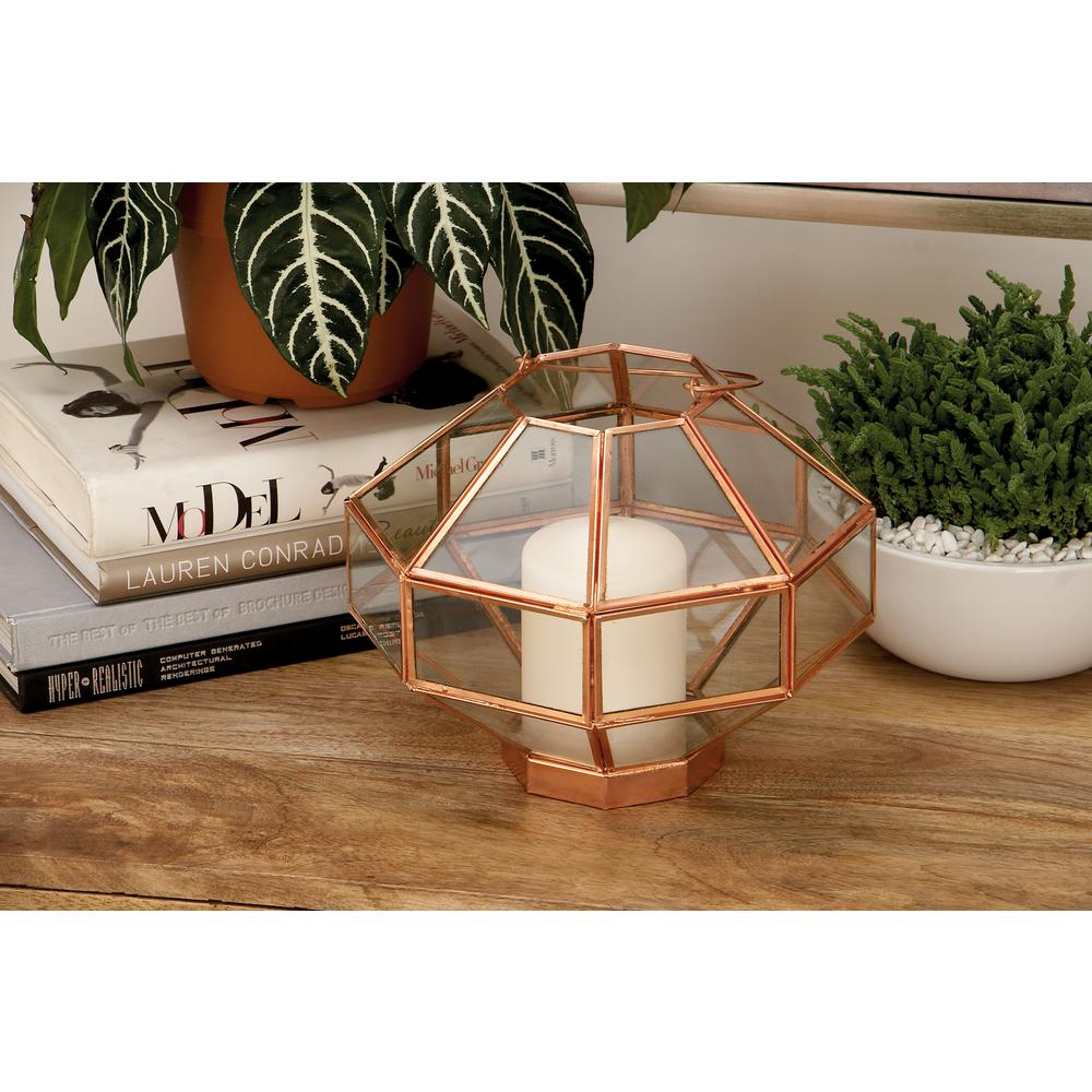 12 in. Metallic Glass and Iron Octagonal Candle Lantern