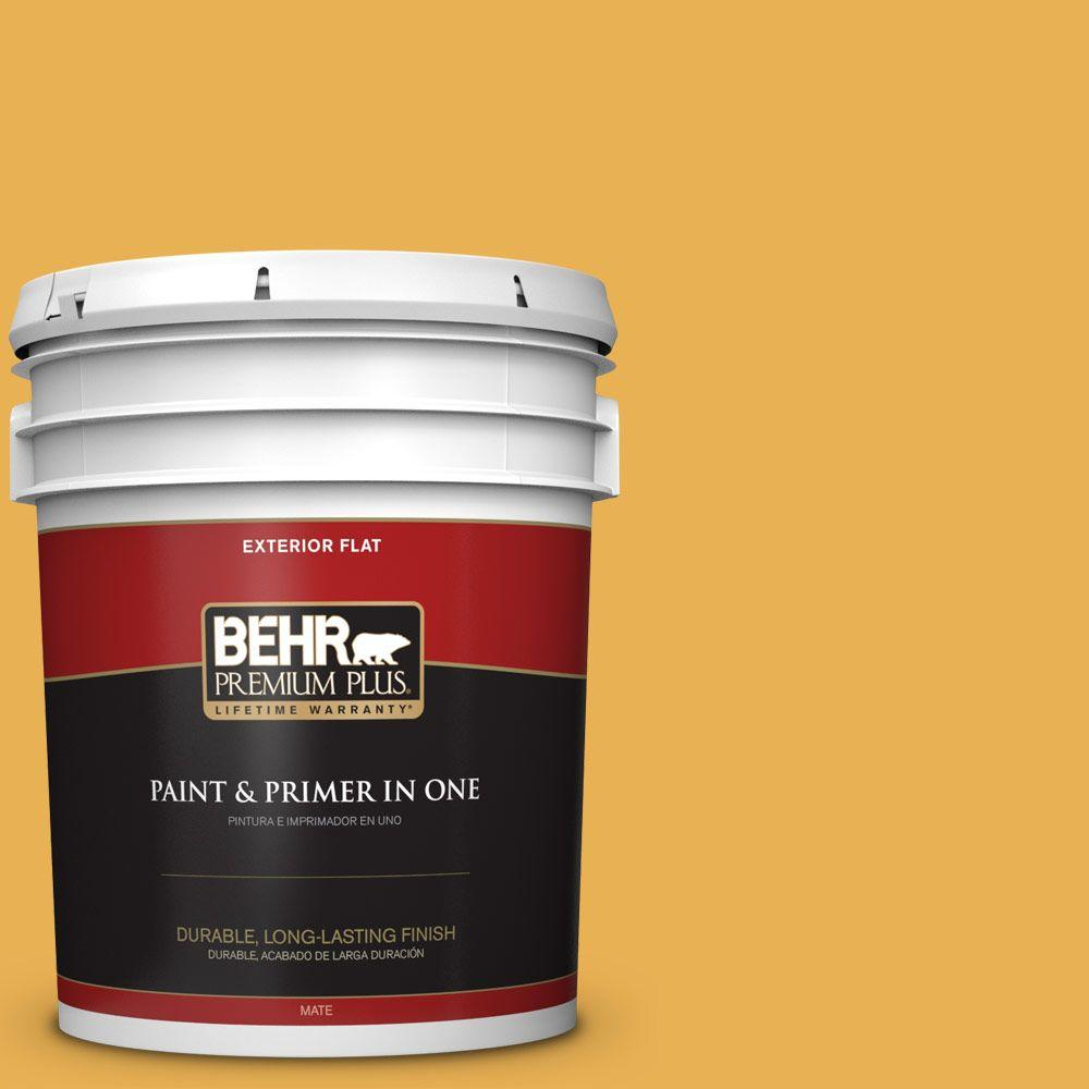 BEHR Premium Plus 5-gal. #PMD-20 Goldenrod Field Flat Exterior Paint