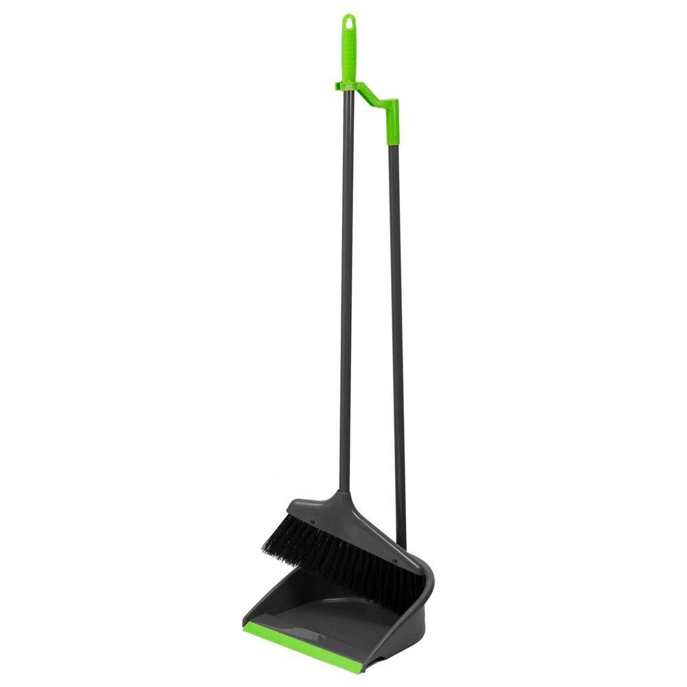 Home Basics Brilliant Collection Nylon Angle Broom with Dust Pan