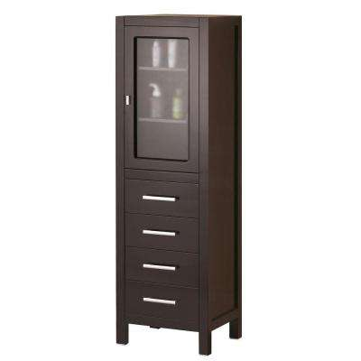 London 18 in. W x 60 in. H x 17 in. D Bathroom Linen Storage Cabinet in Espresso