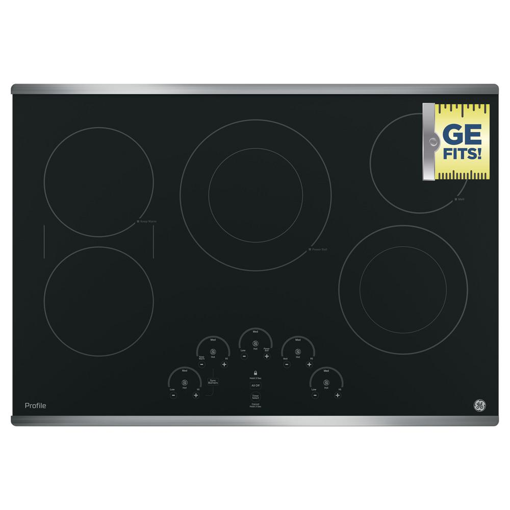 GE Profile 30 in. Radiant Electric Cooktop in Stainless Steel with 5  Elements with Rapid