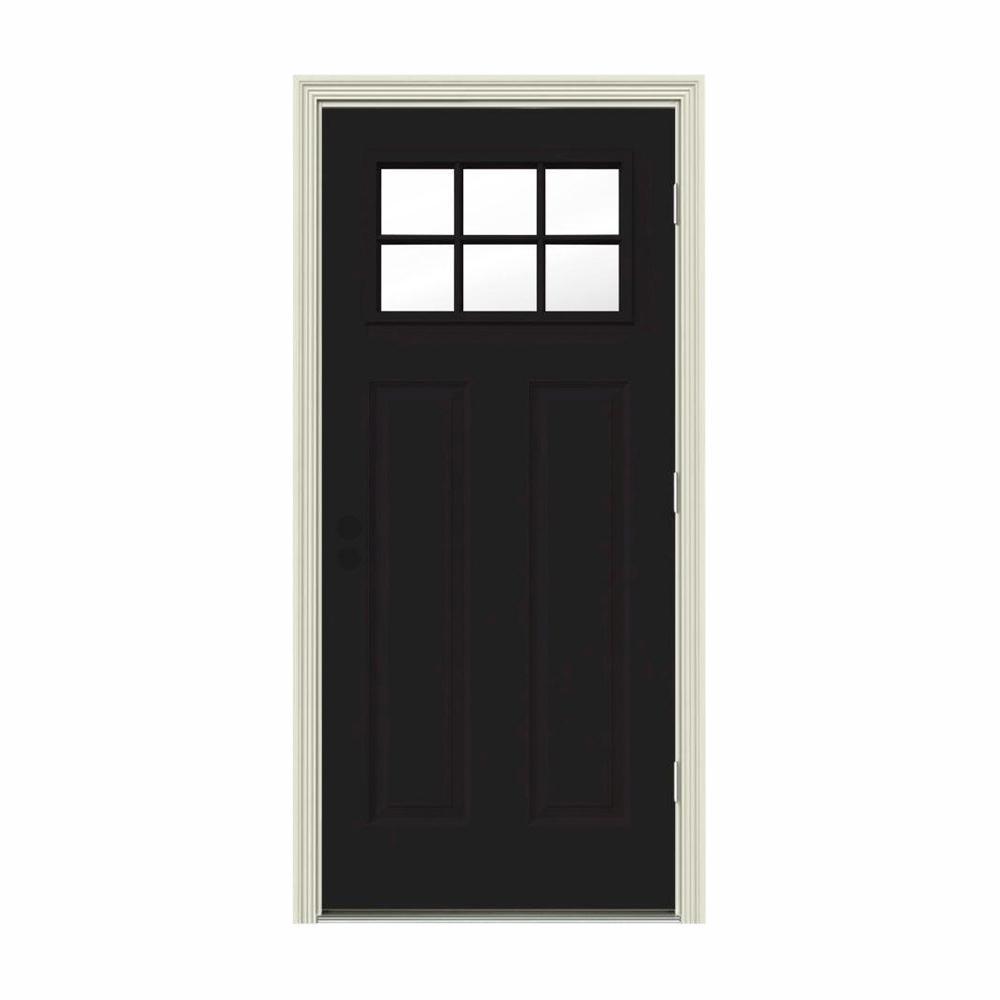 34 in. x 80 in. 6 Lite Craftsman Black w/ White Interior Steel Prehung Left-Hand Outswing Front Door w/Brickmould