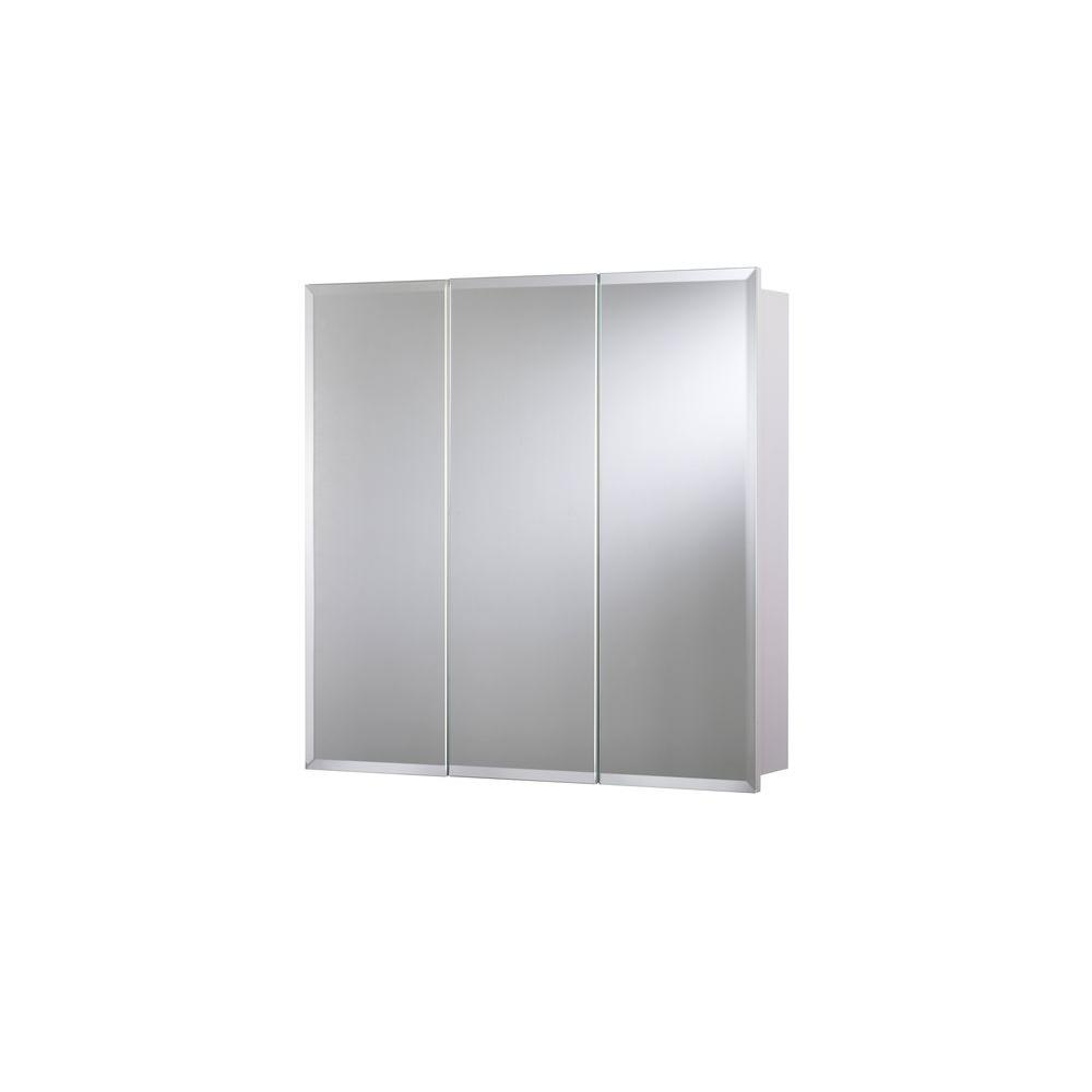D Frameless Tri View Surface Mount Medicine Cabinet With Easy Hanging  System In White WC102522YW   The Home Depot