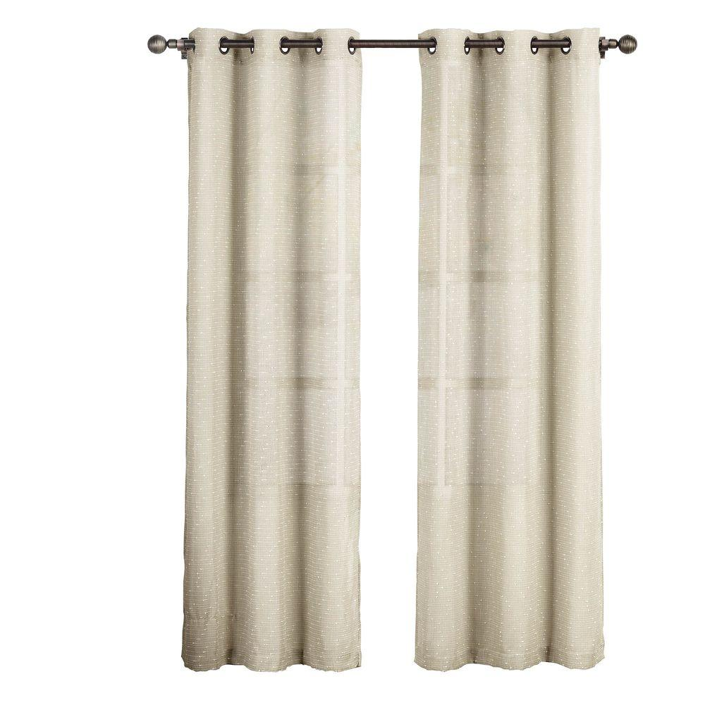 Sheer Nubby Linen Blend 84 In L Grommet Curtain Panel Pair Natural Set Of 2