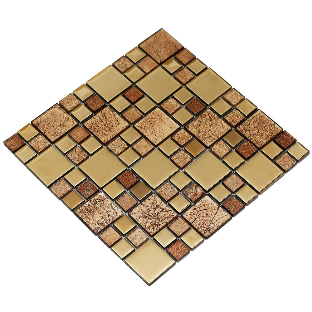 Mirrella Rousha/Gold, 4 in. x 4 in. x 6 mm Glass Mesh-Mounted Mosaic ...