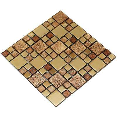 Rousha/Gold, 4 in. x 4 in. x 6 mm Glass Mesh-Mounted Mosaic Tile, Tile Sample