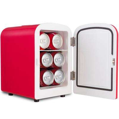 0.14 cu. ft. Portable Mini Fridge Cooler and Warmer Auto Car Boat Home Office AC and DC Red