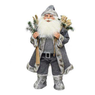 24.5 in. Santa Claus with Skis and Presents Christmas Tabletop Decoration