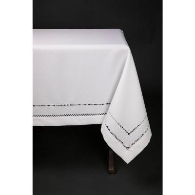 65 in. x 140 in. White Double Hemstitch Easy Care Tablecloth