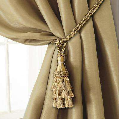 Charlotte 24 in. Tassel Tieback Rope Cord Window Curtain Accessories in Gold