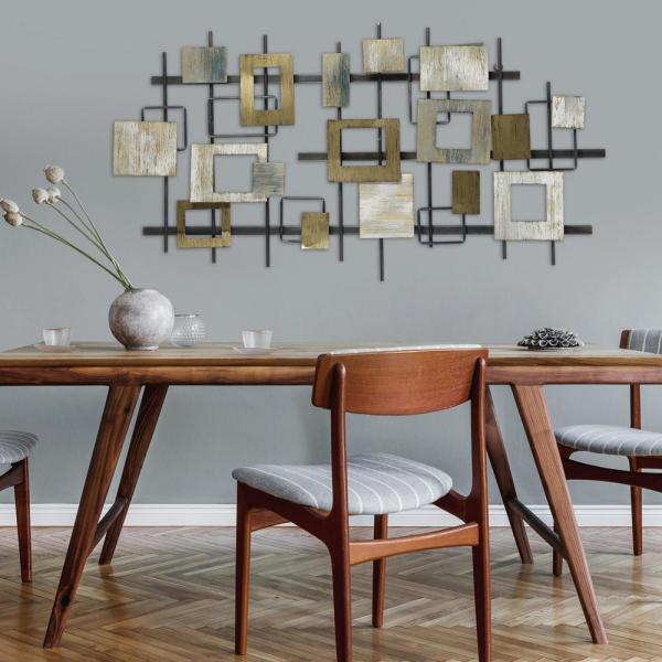 Stratton Home Decor Modern Shapes Wood And Metal Wall Centerpiece S33459 The Home Depot