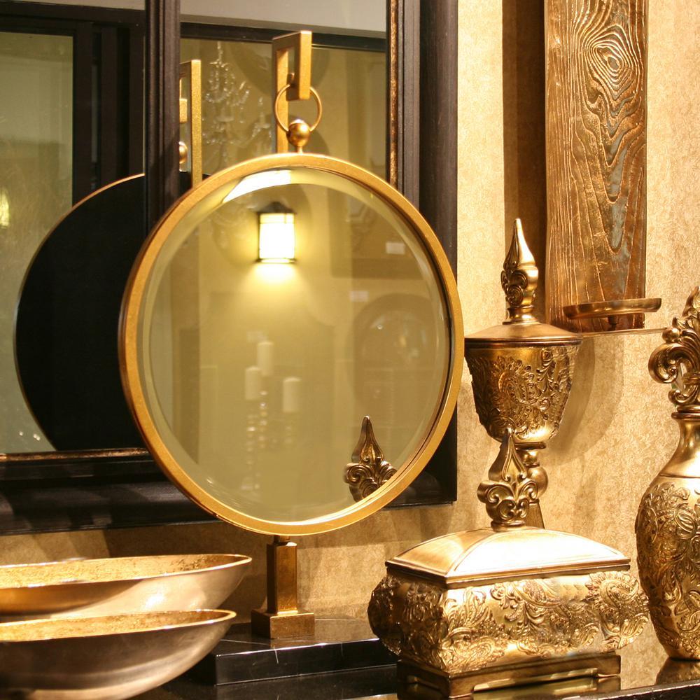 18 in. W x 30 in. H Medallion Gold Mirror