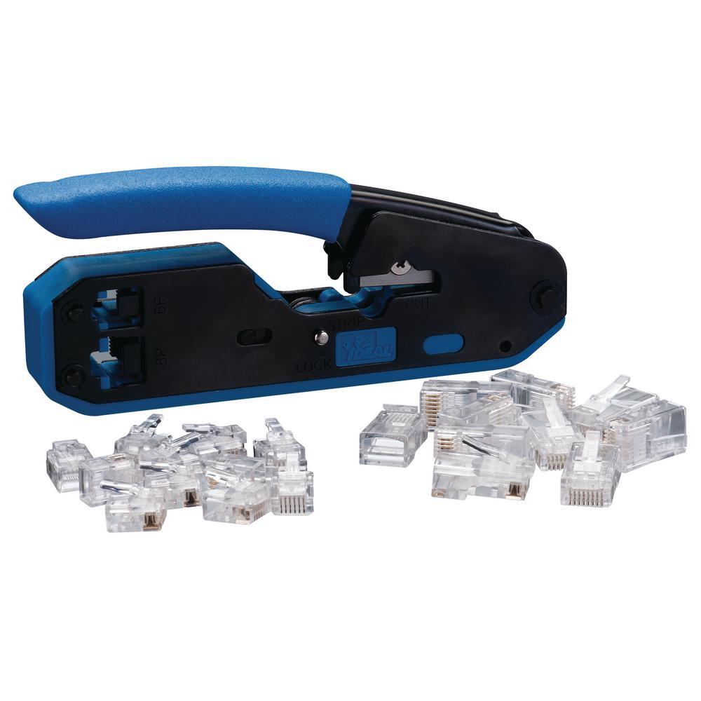 RJ45/RJ11 Modular Plug Crimper Kit Tool with 10 RJ45 (8P8C) and 10 RJ11 (6P6C) Modular Plugs