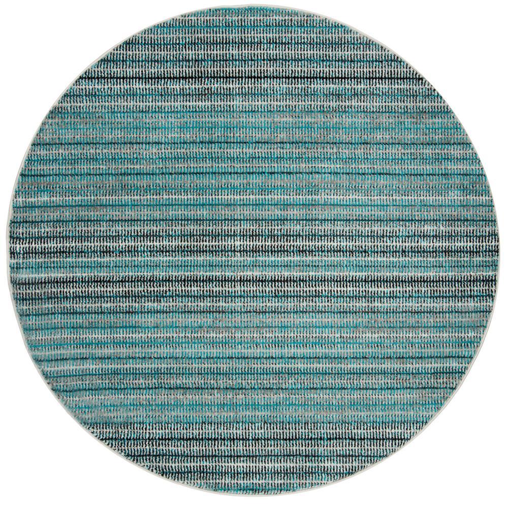 Skyler Blue/Gray 7 ft. x 7 ft. Round Area Rug