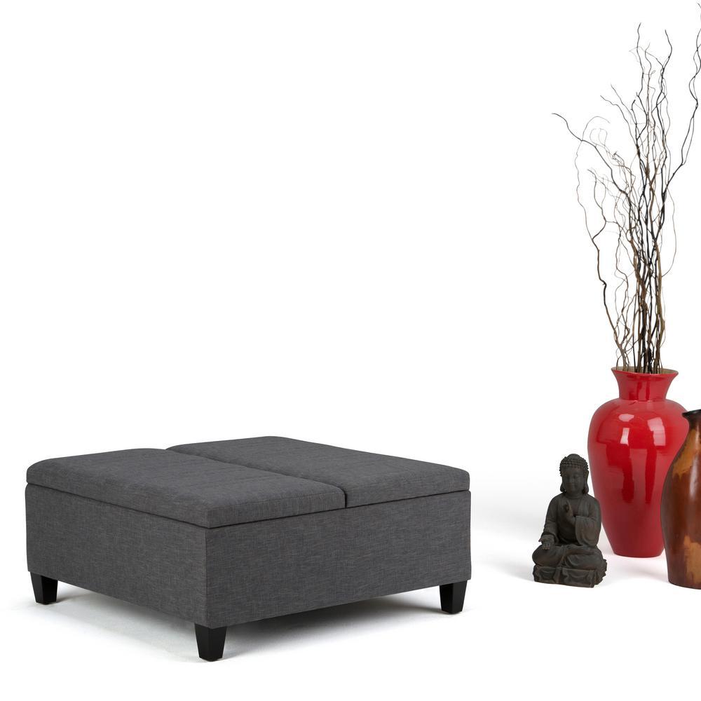 Ellis Slate Grey Linen Look Fabric Storage Ottoman