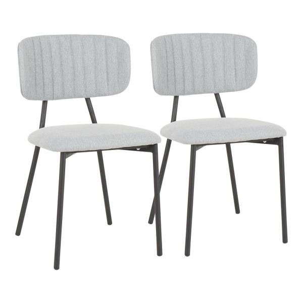 Bouton Black And Light Grey Fabric Dining Chair Set Of 2 Ch Bouton