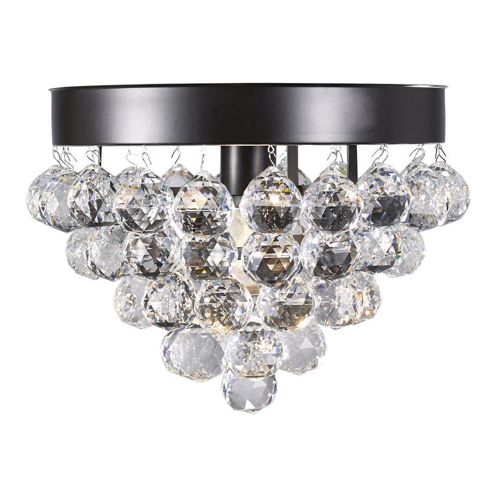 Design House Madrid 12-1/2 in. 1-Light Bronze Semi-Flush Mount Crystal Ceiling Light