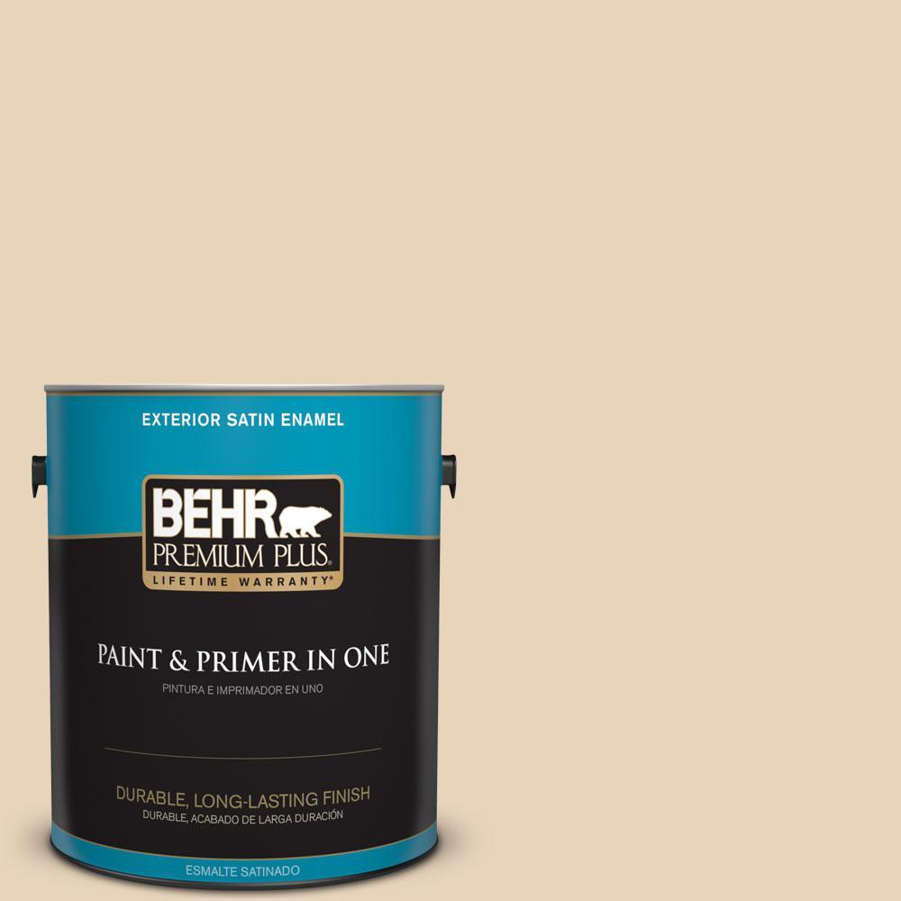 BEHR Premium Plus 1-gal. #S260-1 Plantation Tan Satin Enamel Exterior Paint