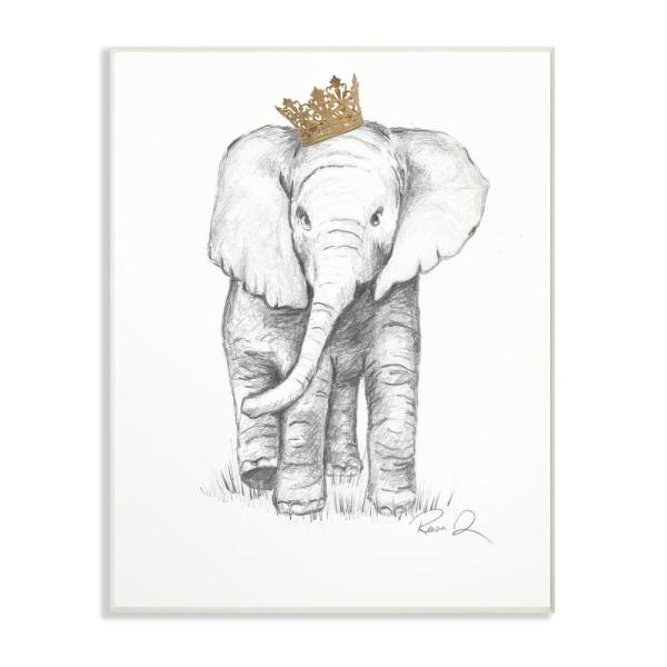 """Stupell Industries 10 in. x 15 in. """"Elephant Royalty Graphite Drawing"""" by Reesa Qualia Printed Wood Wall Art"""