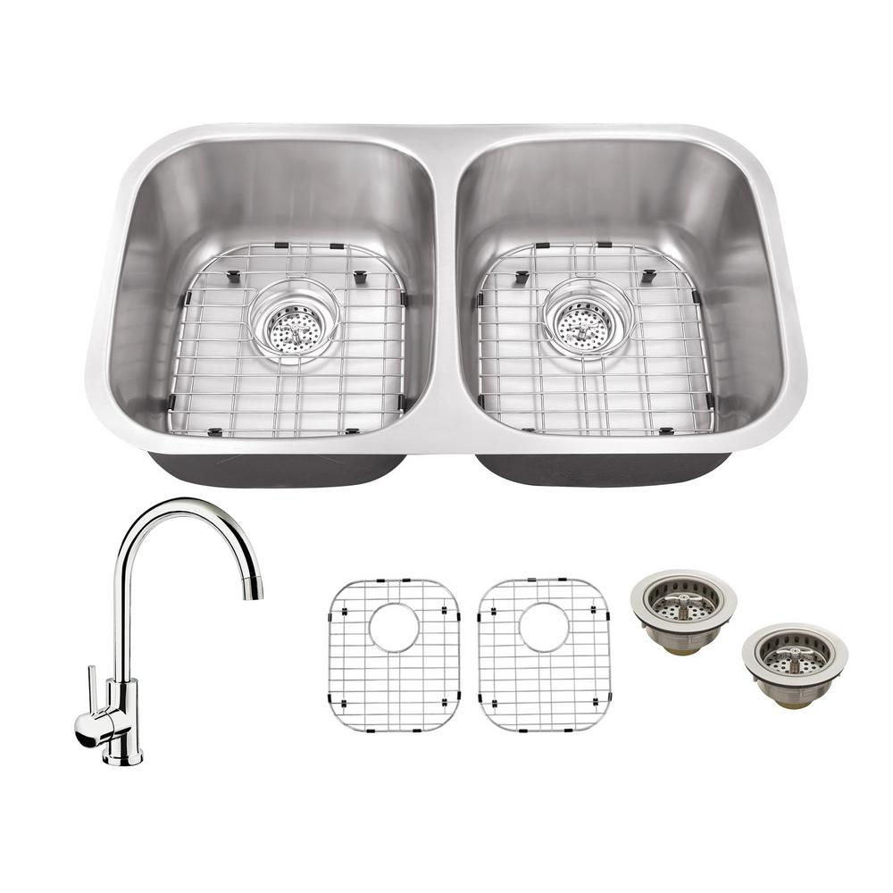 All-in-One Undermount Stainless Steel 32.25 in. 50/50 Double Bowl Kitchen Sink