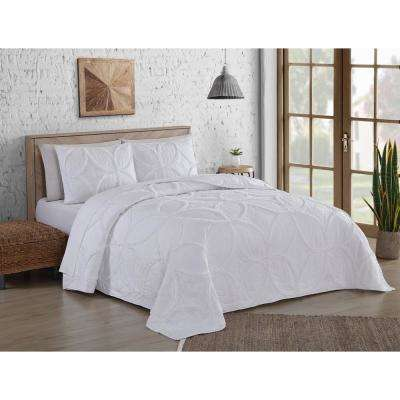 Addie Ruffle White King Quilt Set (3-piece)
