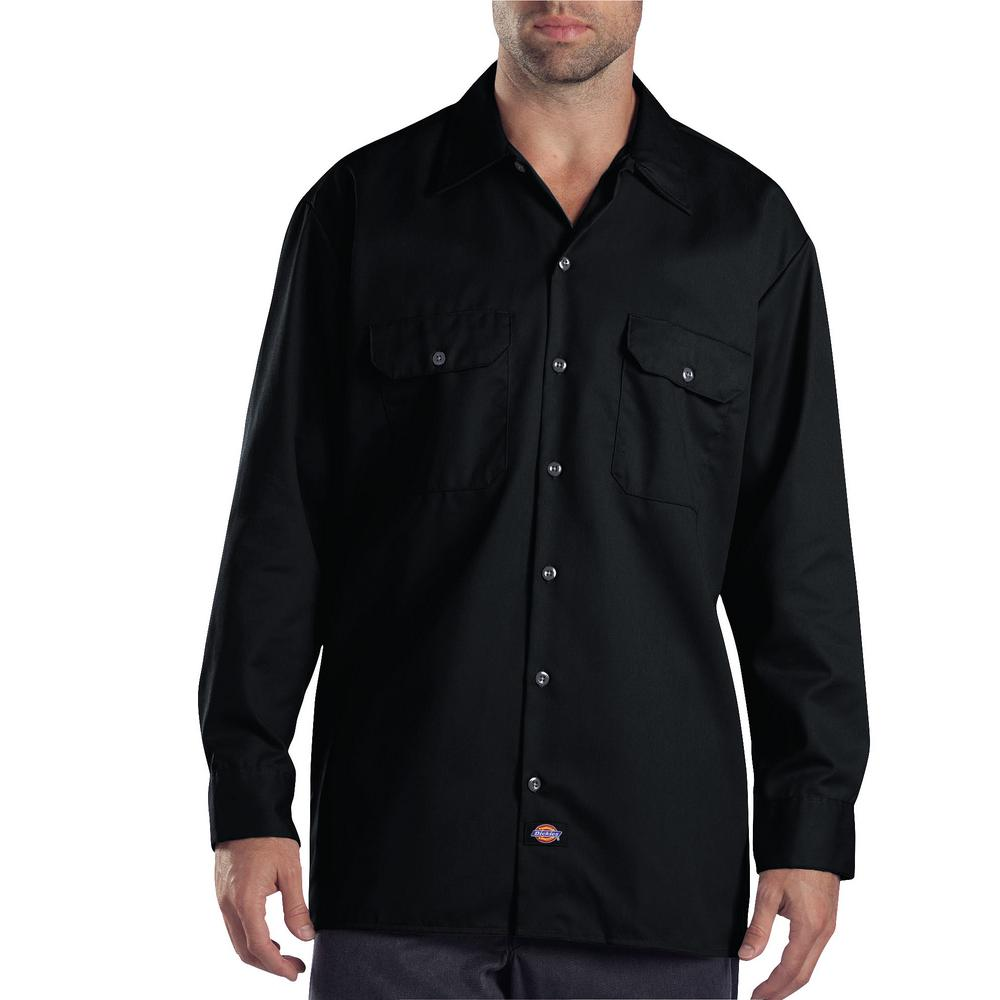 Men's X-Large Black Long Sleeve Work Shirt