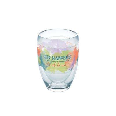 Sip Happens 9 oz. Double-Walled Tritan Stemless Wine Glass