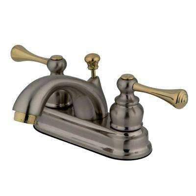 Vintage 4 in. Centerset 2-Handle Bathroom Faucet in Brushed Nickel and Polished Brass
