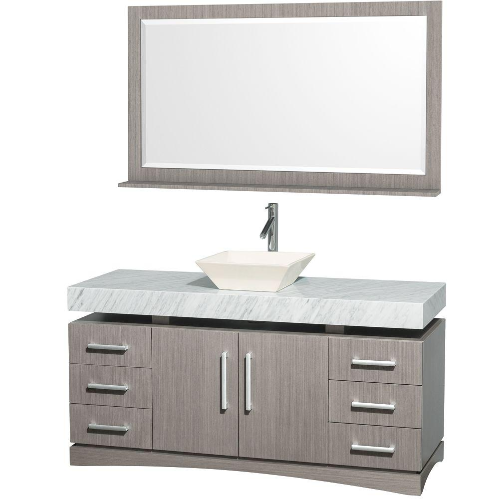 Wyndham Collection Monterey 60 in. Vanity in Grey Oak with Marble Vanity Top in Carrara White and Bone Porcelain Sink-DISCONTINUED