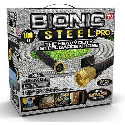 5/8 in. Dia x 100 ft. Heavy-Duty Stainless Steel with Brass Fitting Garden Hose