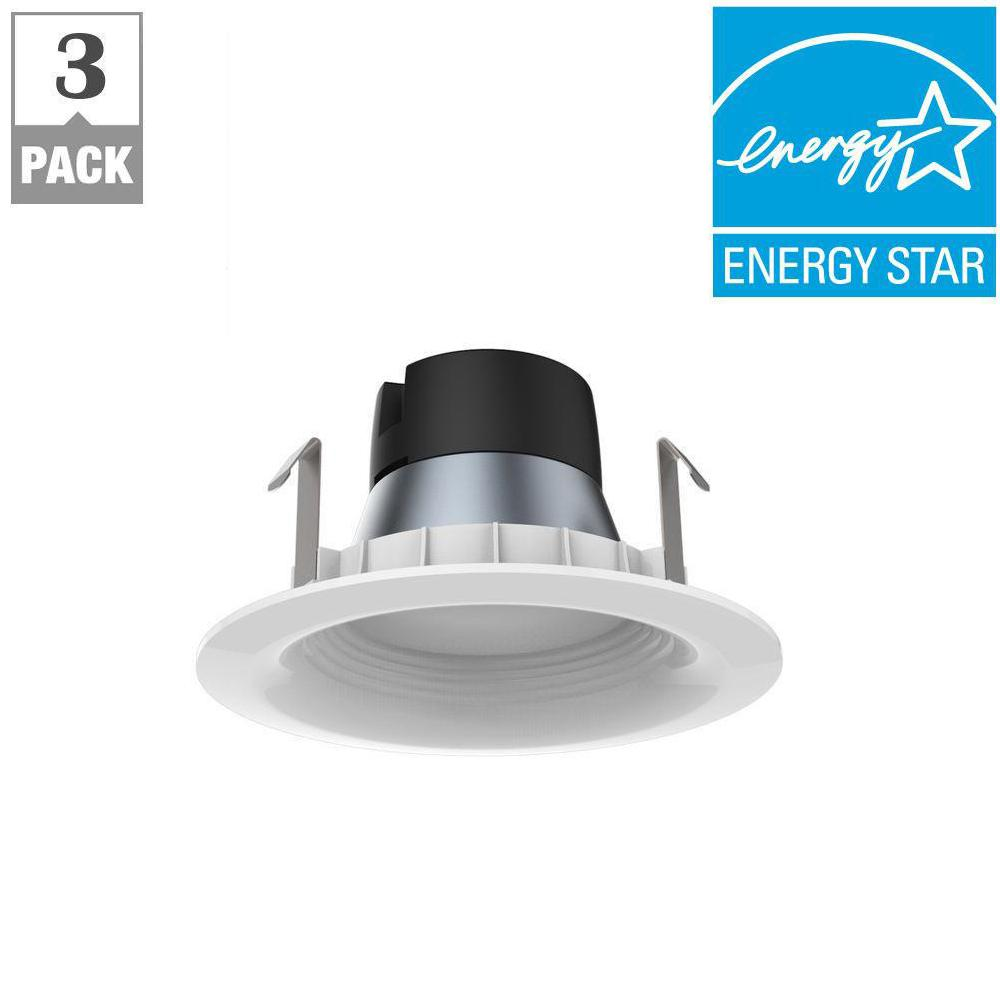 ecosmart 4in white integrated led recessed trim 3 pack dl n14a9fr1