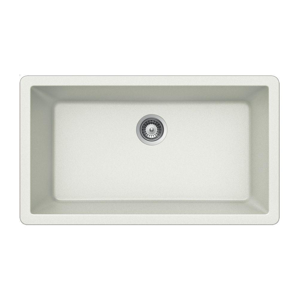 Captivating HOUZER Quartztone Undermount Composite Granite 33 In. Single Bowl Kitchen  Sink In Midnite V 100U MIDNITE   The Home Depot