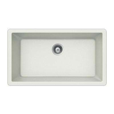 Quartztone Undermount Granite Composite 33 in. Single Basin Kitchen Sink in Cloud