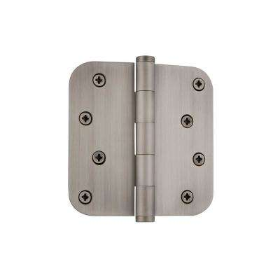 4 in. Button Tip Residential Hinge with 5/8 in. Radius Corners in Antique Pewter