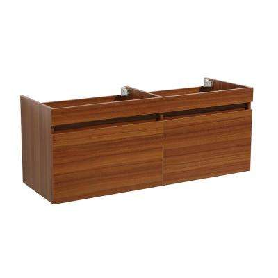 Mezzo 60 in. Modern Wall Hung Double Sink Bath Vanity Cabinet Only in Teak
