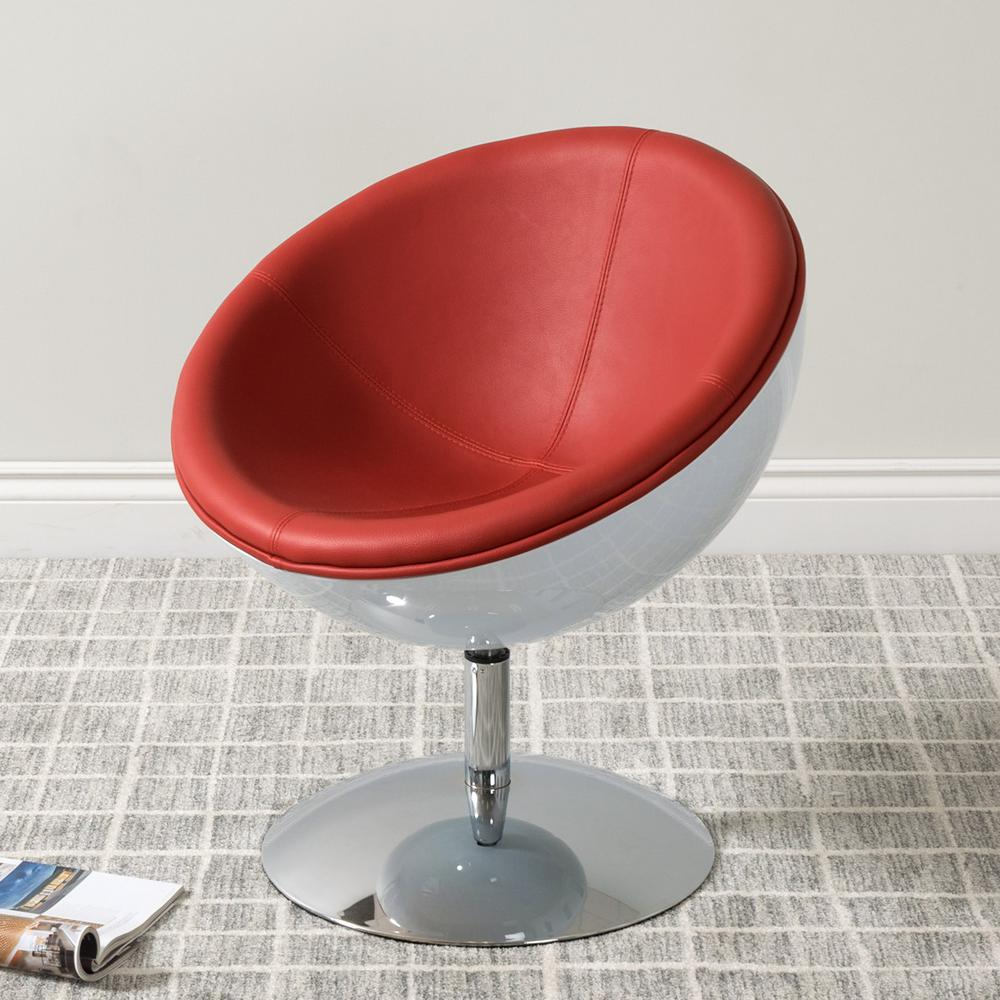 CorLiving Mod Modern Red And White Bonded Leather Swivel Circular Chair