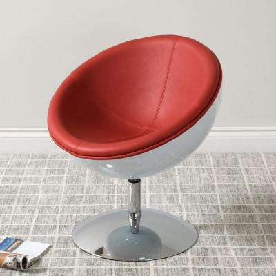 Mod Modern Red and White Bonded Leather Swivel Circular Chair
