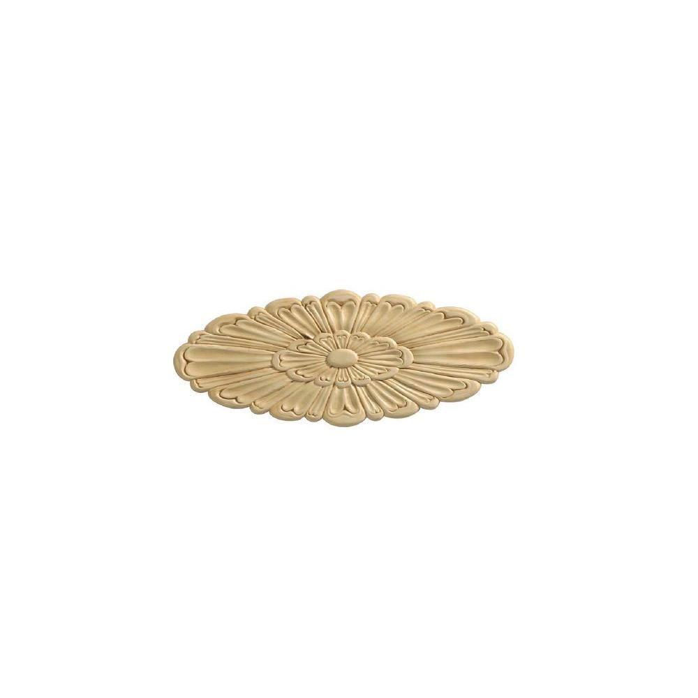 Ornamental Mouldings 13640PK 7/32 in. x 12-15/16 in. x 5-3/16 in. Birch Large Rosette Onlay Ornament Moulding