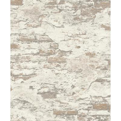 56.4 sq. ft. Templier Off-White Distressed Brick Wallpaper