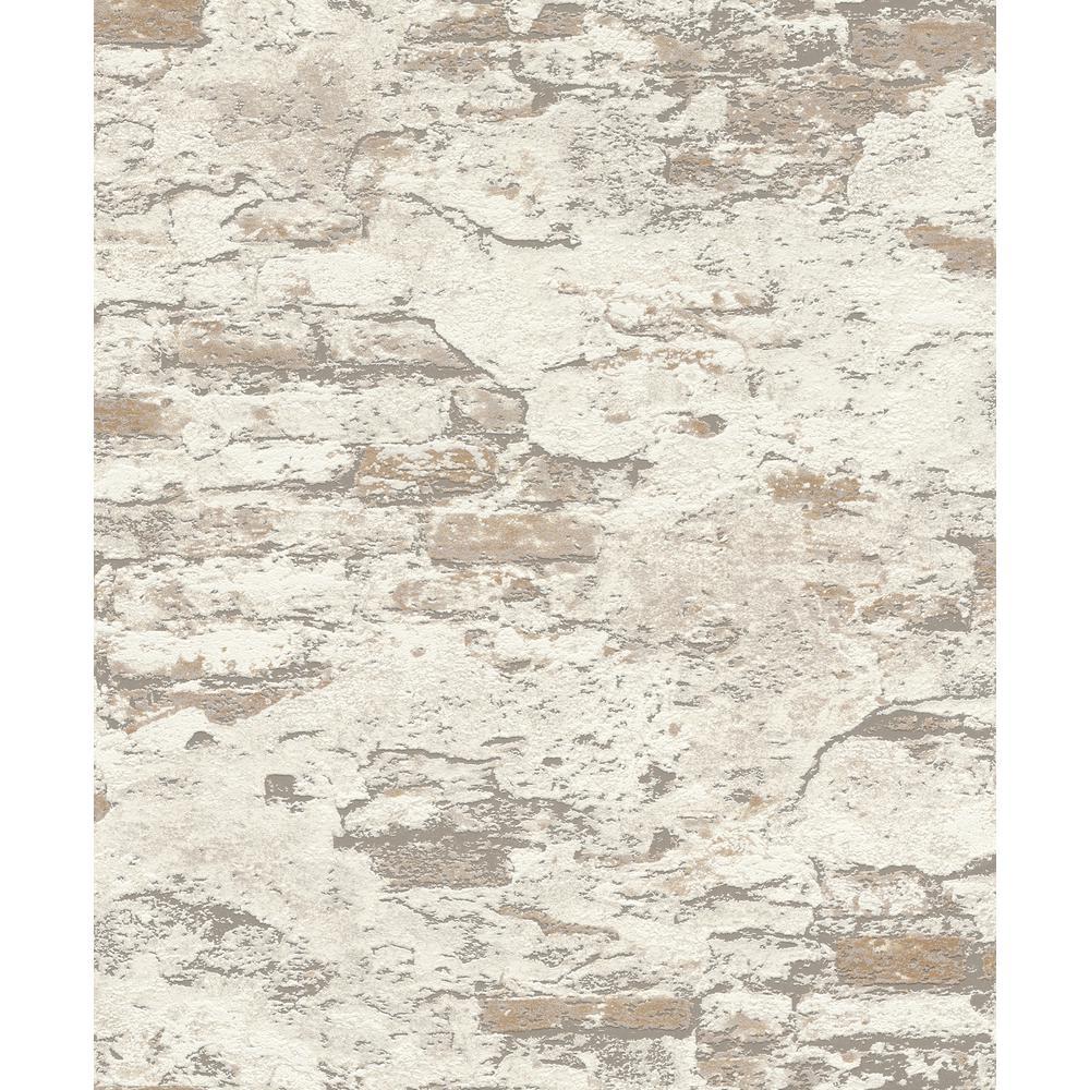 56.4 sq. ft. Templier Off-White Distressed Brick Wallpaper