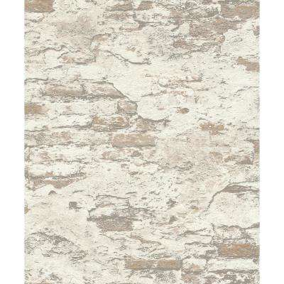 8 in. x 10 in. Templier Off-White Distressed Brick Wallpaper Sample
