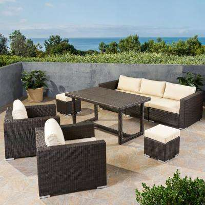 Santa Rosa Multi-Brown 8-Piece Wicker and Aluminum Outdoor Dining Set with Cream Cushions