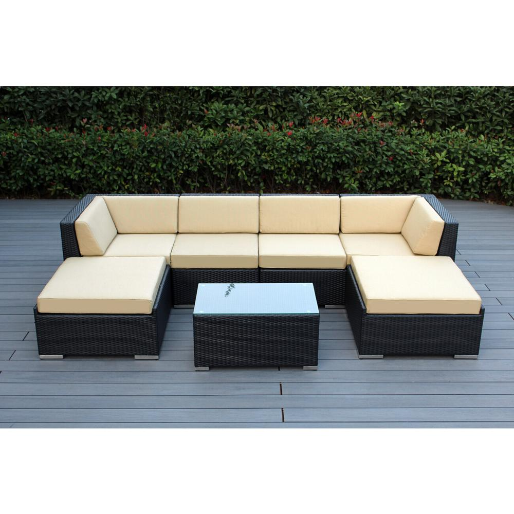 Ohana Depot Ohana Black 7-Piece Wicker Patio Seating Set with Sunbrella Antique Beige Cushions