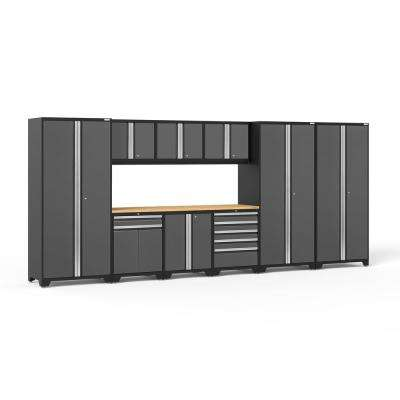 Pro 3 Series 192 in. W x 83.25 in. H x 24 in. D 18-Gauge Welded Steel Bamboo Worktop Cabinet Set in Gray (10-Piece)