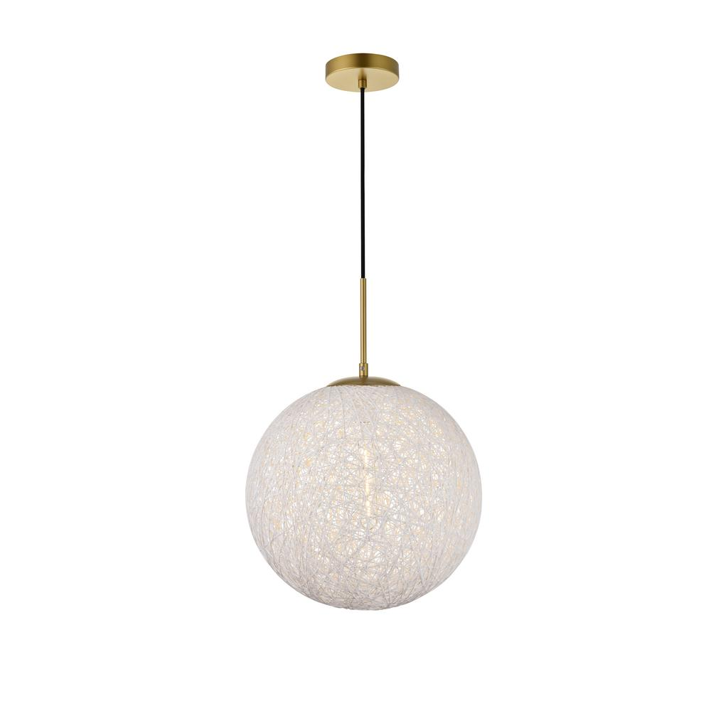 Timeless Home Malaki 1-Light Pendant in Brass and White with 13.8 in. W x 13.8 in. H Shade