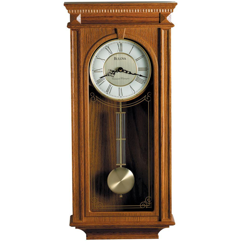 24 25 in  H x 11 25 in  W Pendulum Chime Wall Clock