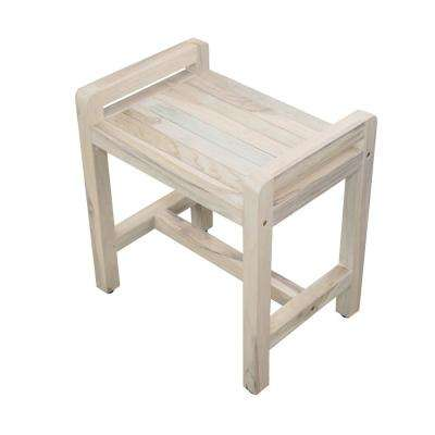 Classic 20 in. Teak Shower Stool in Rustic White Wash with LiftAid Arms