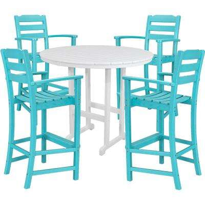 Nassau 5 Piece All Weather Bar Height Outdoor Dining Set In Aruba Blue