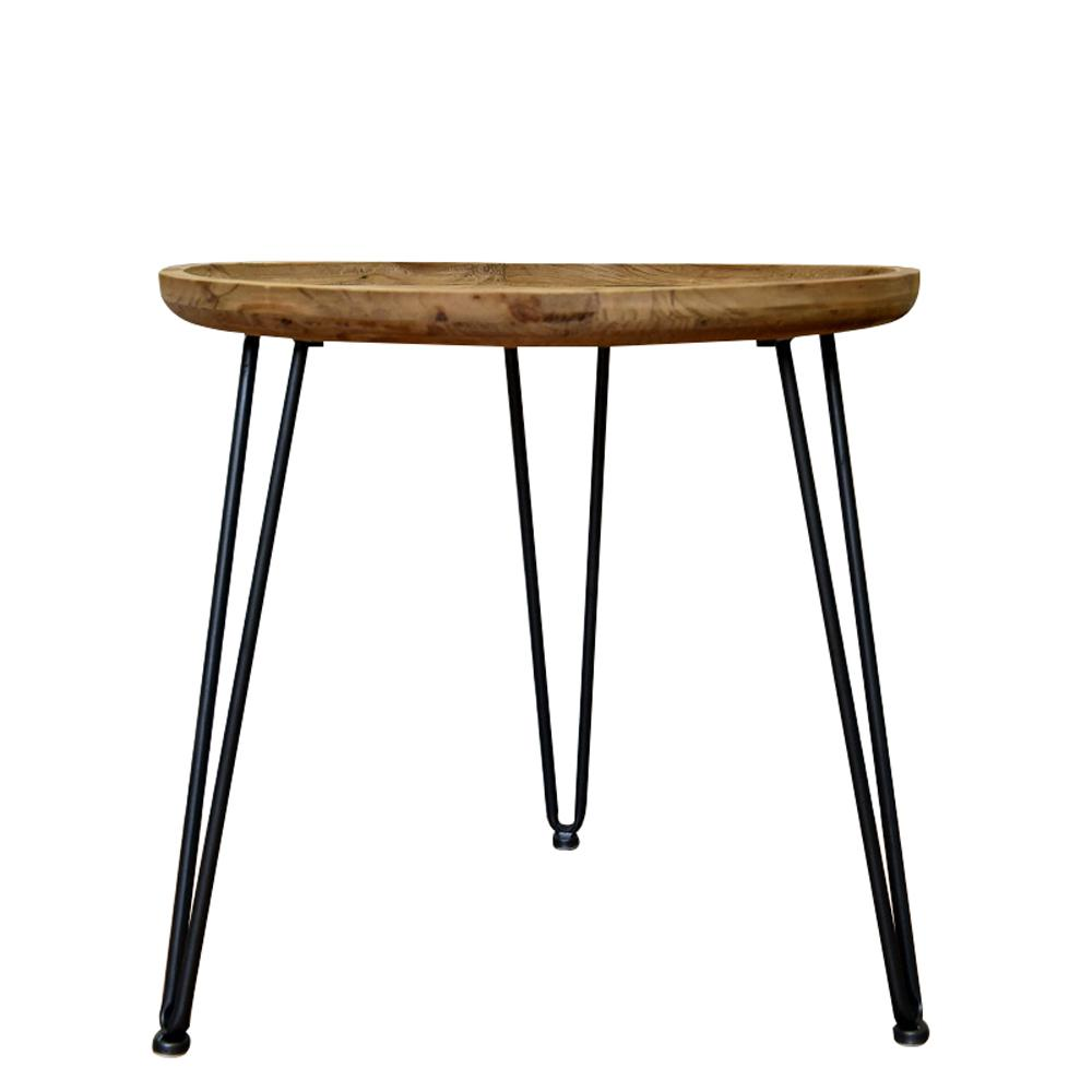 Brown Wood End Table with Black Base