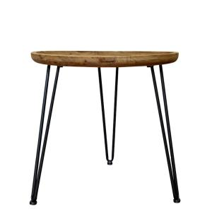 Brown Wood End Table with Black Base by